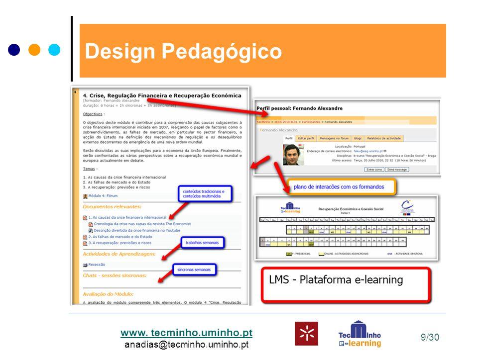 www. tecminho.uminho.pt anadias@tecminho.uminho.pt Design Pedagógico 9/30