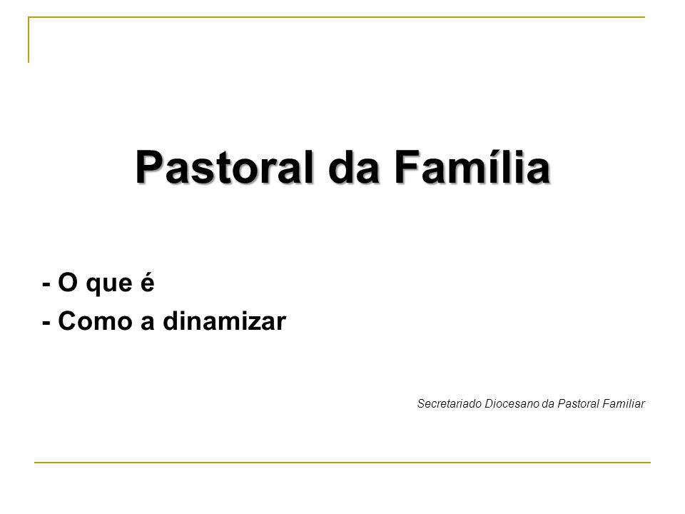 Índice 1.Os grandes problemas da família 2. A urgência da Pastoral da família 3.