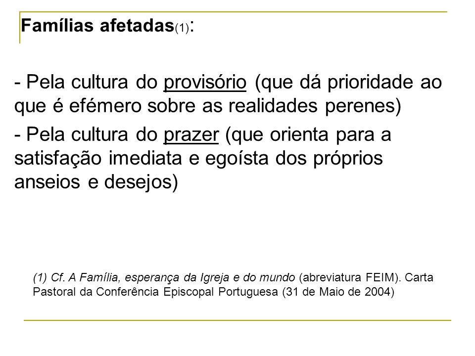 Famílias afetadas (1) : - Pela cultura do provisório (que dá prioridade ao que é efémero sobre as realidades perenes) - Pela cultura do prazer (que or