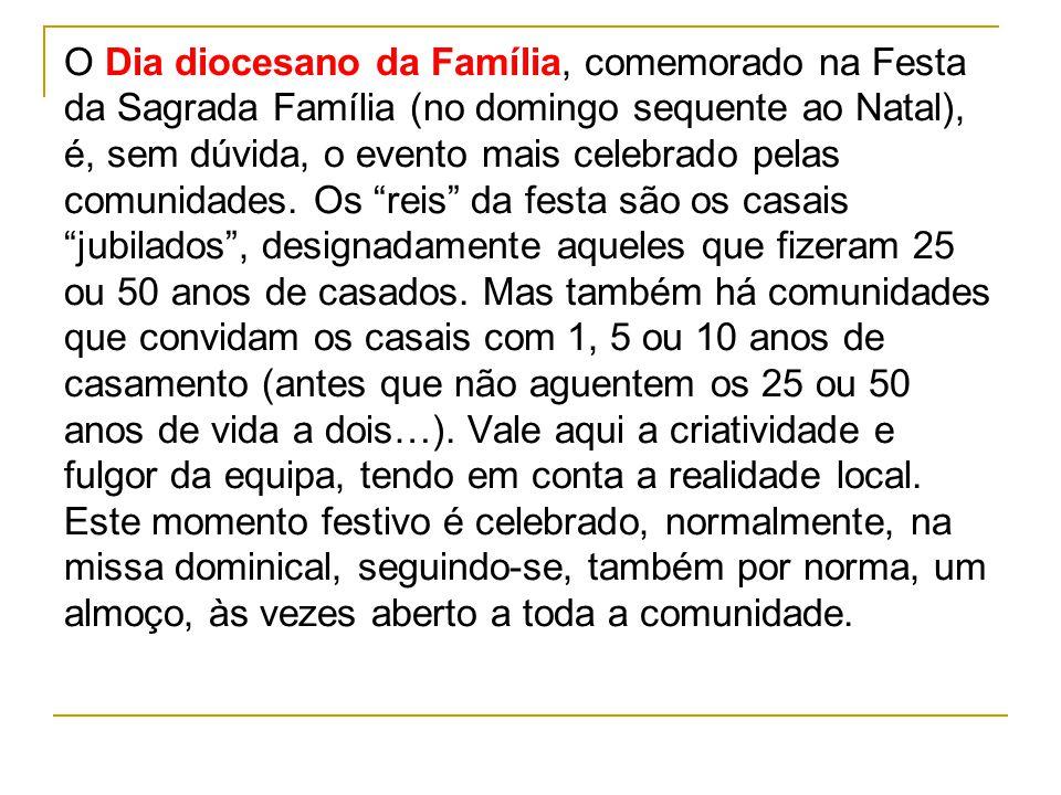 O Dia diocesano da Família, comemorado na Festa da Sagrada Família (no domingo sequente ao Natal), é, sem dúvida, o evento mais celebrado pelas comuni