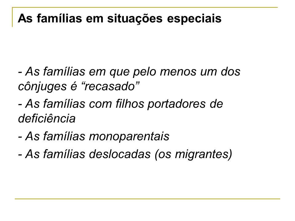 Famílias em situações irregulares - Uniões heterossexuais, não casadas (Cons Europa) ou «Uniões de facto» (FC, 81) - Católicos unidos em matrimónio civil - Católicos divorciados civilmente (e não casados de novo) - Católicos divorciados e recasados
