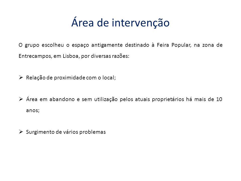 Área de intervenção O grupo escolheu o espaço antigamente destinado à Feira Popular, na zona de Entrecampos, em Lisboa, por diversas razões:  Relação de proximidade com o local;  Área em abandono e sem utilização pelos atuais proprietários há mais de 10 anos;  Surgimento de vários problemas