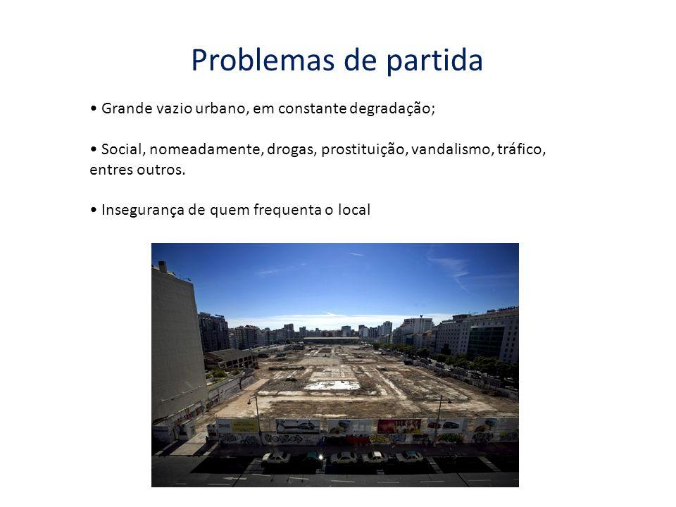 Grande vazio urbano, em constante degradação; Social, nomeadamente, drogas, prostituição, vandalismo, tráfico, entres outros. Insegurança de quem freq