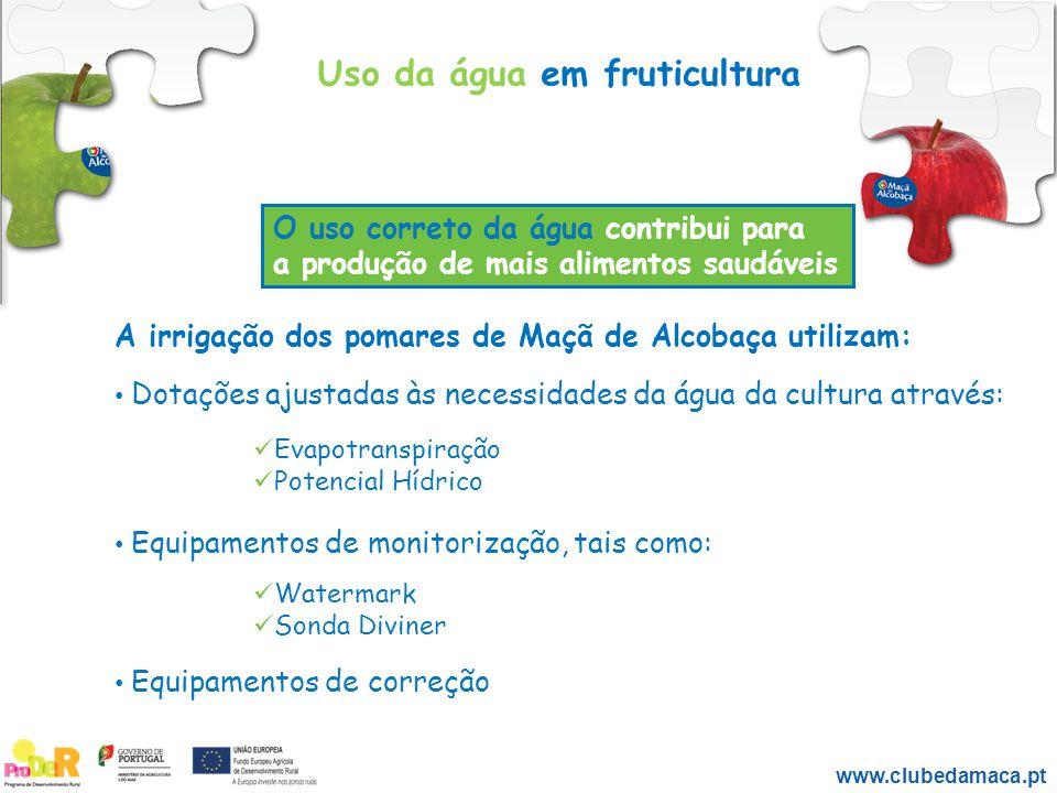 A irrigação dos pomares de Maçã de Alcobaça utilizam: Dotações ajustadas às necessidades da água da cultura através: Evapotranspiração Potencial Hídri