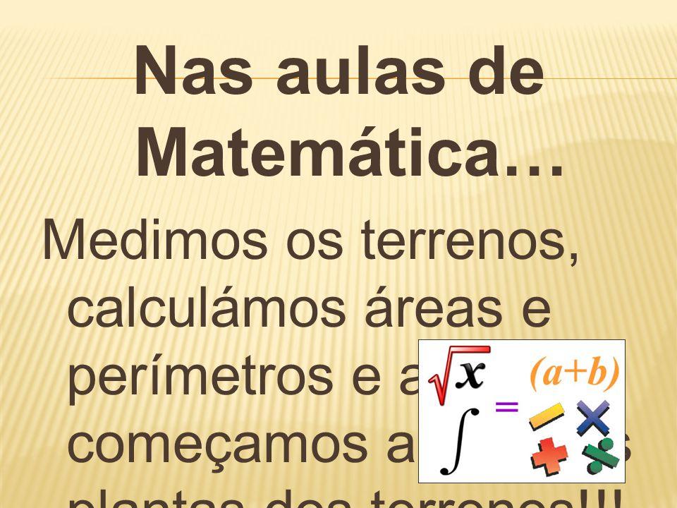 Nas aulas de Matemática… Medimos os terrenos, calculámos áreas e perímetros e até já começamos a fazer as plantas dos terrenos!!!
