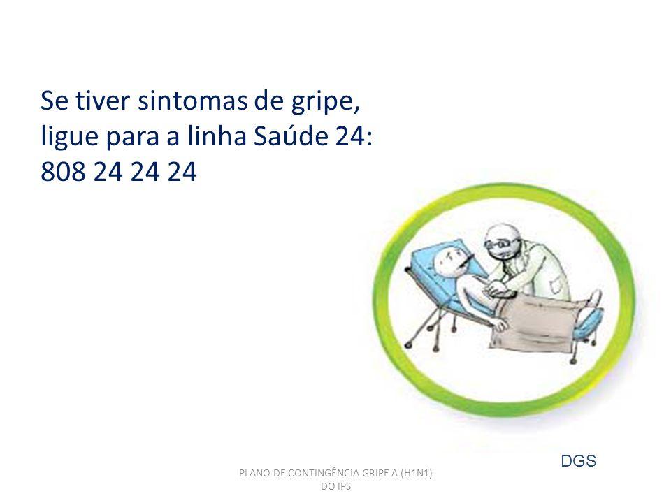 PLANO DE CONTINGÊNCIA GRIPE A (H1N1) DO IPS Se tiver sintomas de gripe, ligue para a linha Saúde 24: 808 24 24 24 DGS