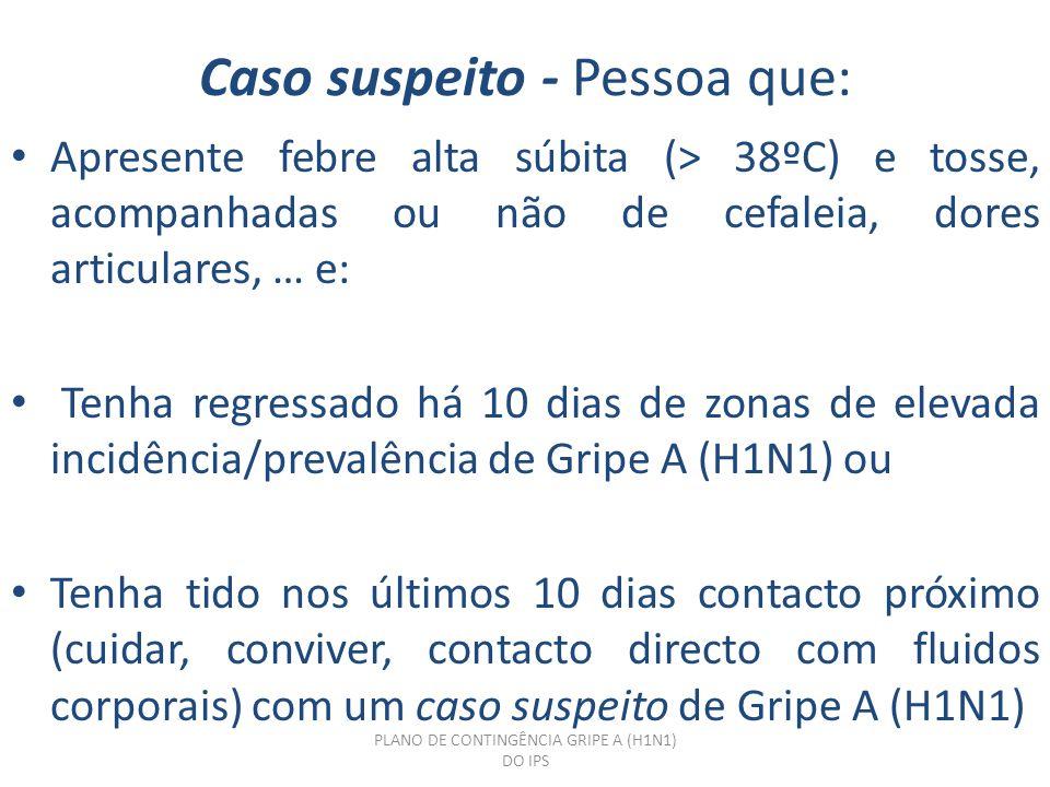 Caso suspeito - Pessoa que: Apresente febre alta súbita (> 38ºC) e tosse, acompanhadas ou não de cefaleia, dores articulares, … e: Tenha regressado há 10 dias de zonas de elevada incidência/prevalência de Gripe A (H1N1) ou Tenha tido nos últimos 10 dias contacto próximo (cuidar, conviver, contacto directo com fluidos corporais) com um caso suspeito de Gripe A (H1N1) PLANO DE CONTINGÊNCIA GRIPE A (H1N1) DO IPS