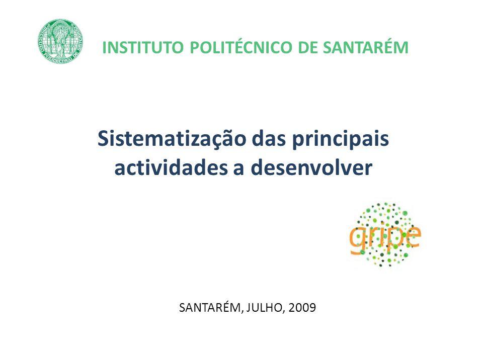 INSTITUTO POLITÉCNICO DE SANTARÉM Sistematização das principais actividades a desenvolver SANTARÉM, JULHO, 2009