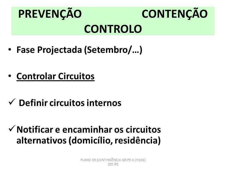 PREVENÇÃO CONTENÇÃO CONTROLO Fase Projectada (Setembro/…) Controlar Circuitos Definir circuitos internos Notificar e encaminhar os circuitos alternativos (domicílio, residência) PLANO DE CONTINGÊNCIA GRIPE A (H1N1) DO IPS