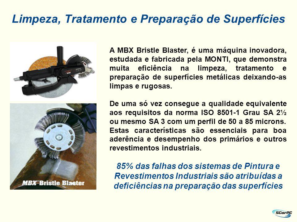 A MBX Bristle Blaster, é uma máquina inovadora, estudada e fabricada pela MONTI, que demonstra muita eficiência na limpeza, tratamento e preparação de
