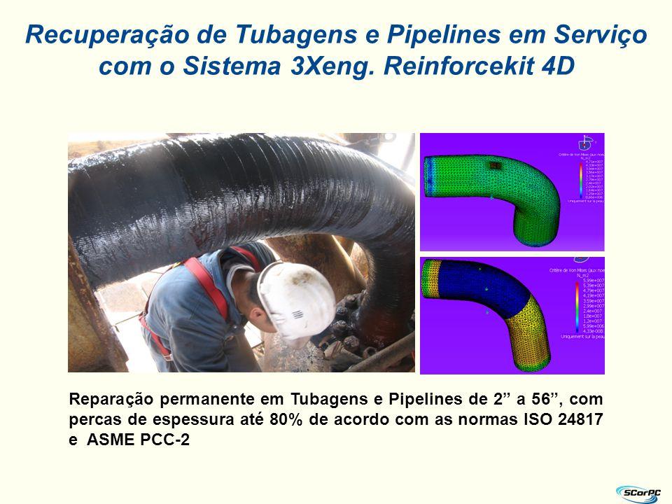 """Recuperação de Tubagens e Pipelines em Serviço com o Sistema 3Xeng. Reinforcekit 4D Reparação permanente em Tubagens e Pipelines de 2"""" a 56"""", com perc"""