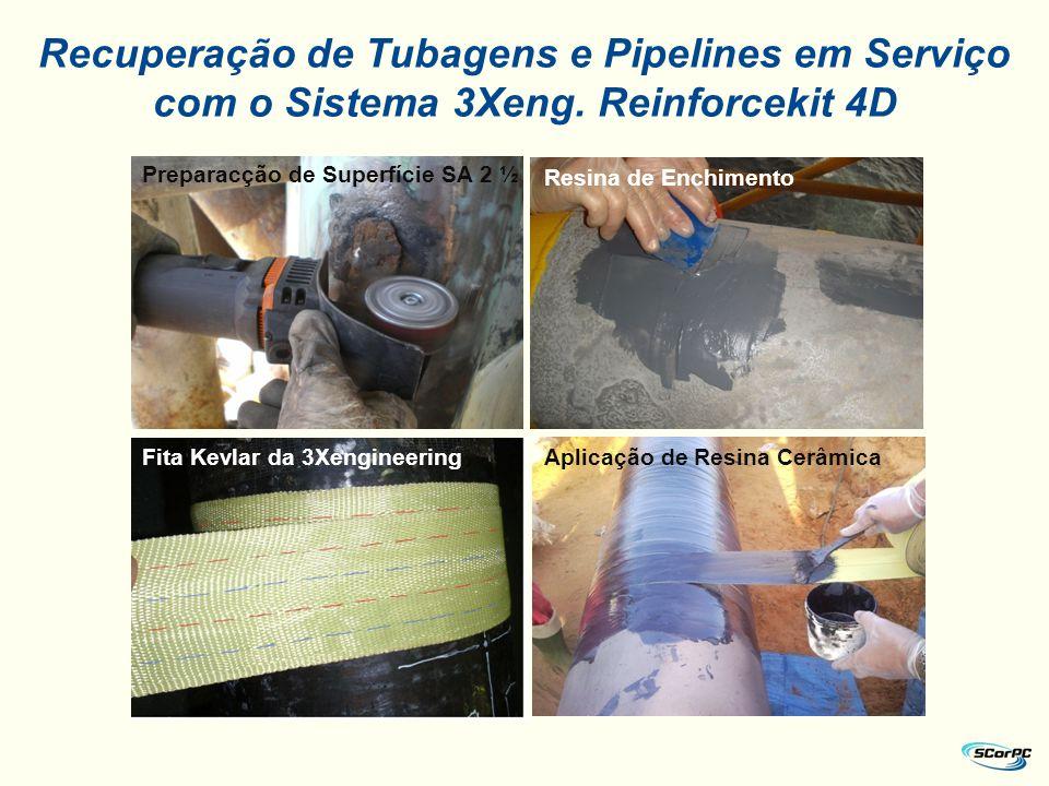 Preparacção de Superfície SA 2 ½ Resina de Enchimento Fita Kevlar da 3XengineeringAplicação de Resina Cerâmica Recuperação de Tubagens e Pipelines em