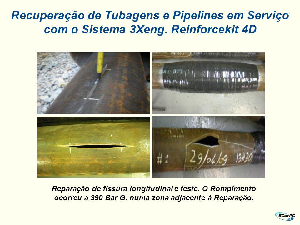 Reparação de fissura longitudinal e teste. O Rompimento ocorreu a 390 Bar G. numa zona adjacente á Reparação. Recuperação de Tubagens e Pipelines em S