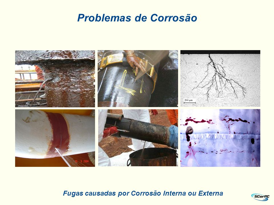Fugas causadas por Corrosão Interna ou Externa Problemas de Corrosão