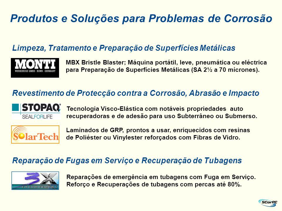 Limpeza, Tratamento e Preparação de Superfícies Metálicas Revestimento de Protecção contra a Corrosão, Abrasão e Impacto Reparação de Fugas em Serviço