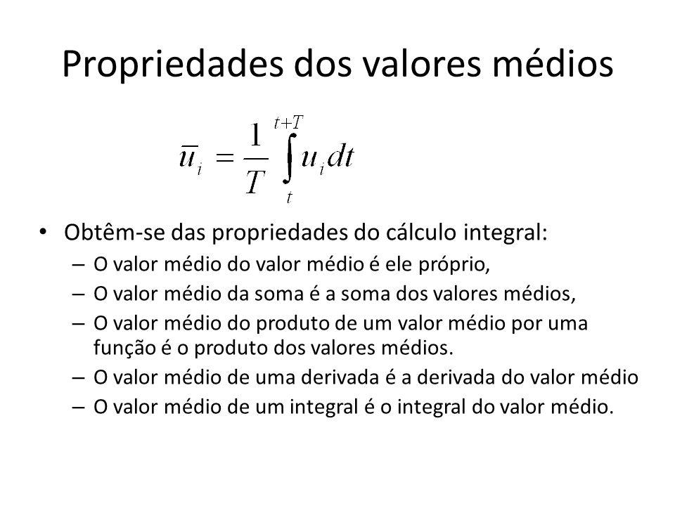 Propriedades dos valores médios Obtêm-se das propriedades do cálculo integral: – O valor médio do valor médio é ele próprio, – O valor médio da soma é