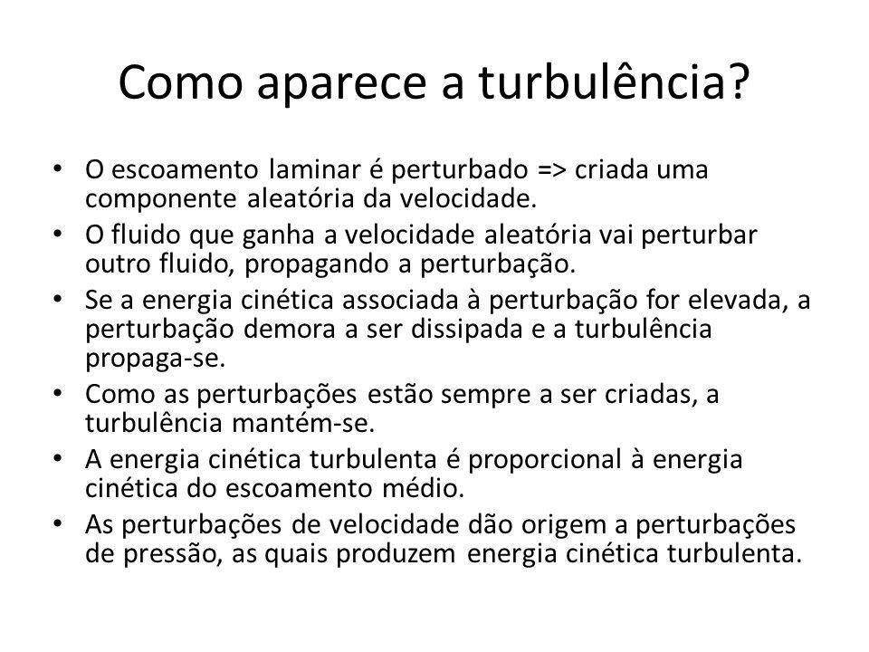 Como aparece a turbulência? O escoamento laminar é perturbado => criada uma componente aleatória da velocidade. O fluido que ganha a velocidade aleató