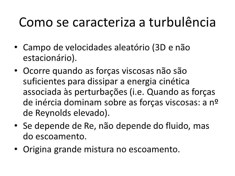 Como se caracteriza a turbulência Campo de velocidades aleatório (3D e não estacionário). Ocorre quando as forças viscosas não são suficientes para di