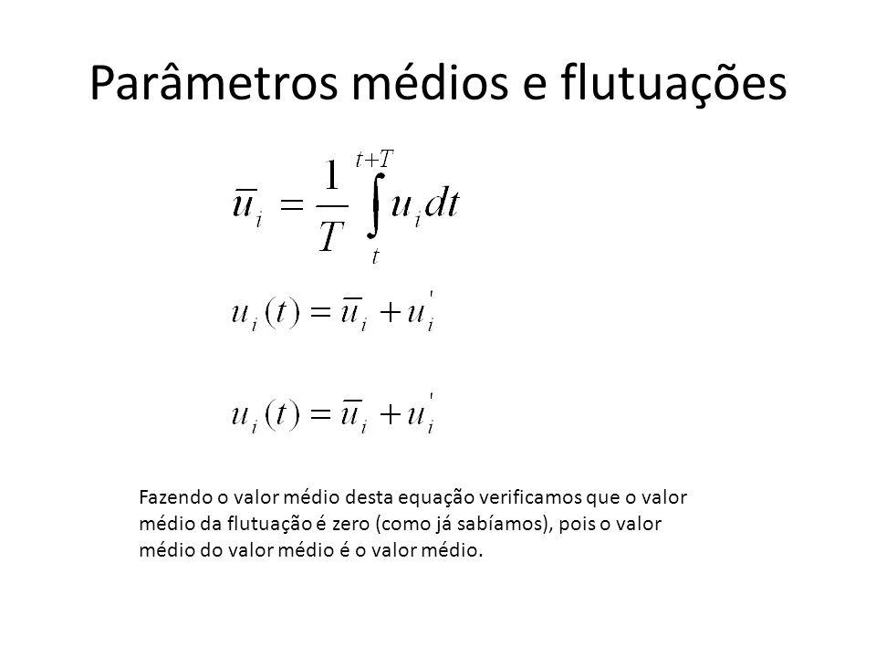Parâmetros médios e flutuações Fazendo o valor médio desta equação verificamos que o valor médio da flutuação é zero (como já sabíamos), pois o valor