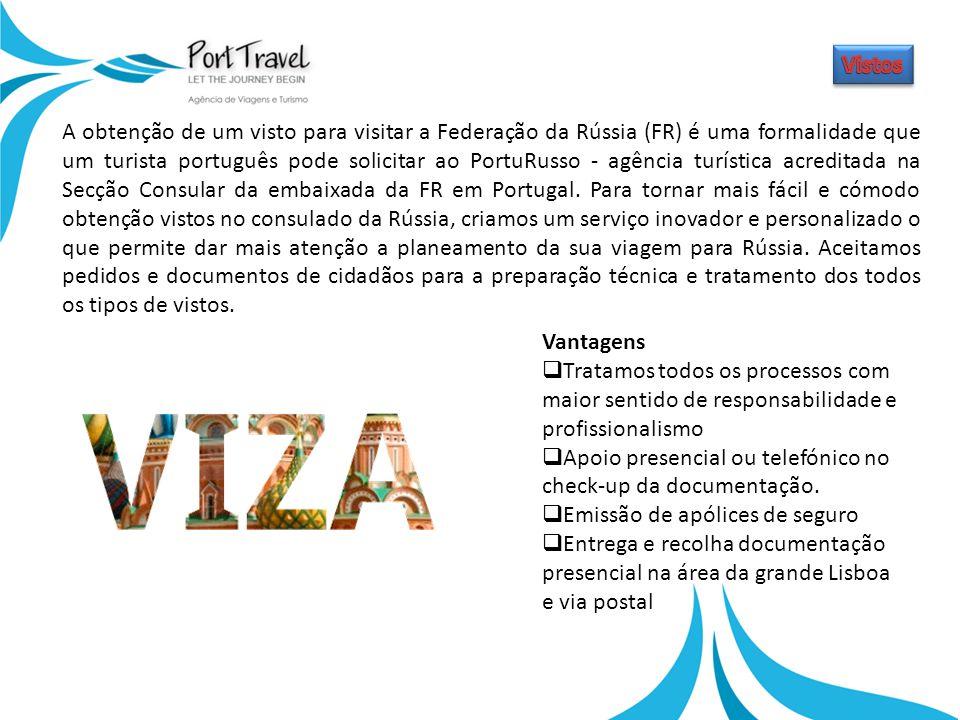 A obtenção de um visto para visitar a Federação da Rússia (FR) é uma formalidade que um turista português pode solicitar ao PortuRusso - agência turística acreditada na Secção Consular da embaixada da FR em Portugal.