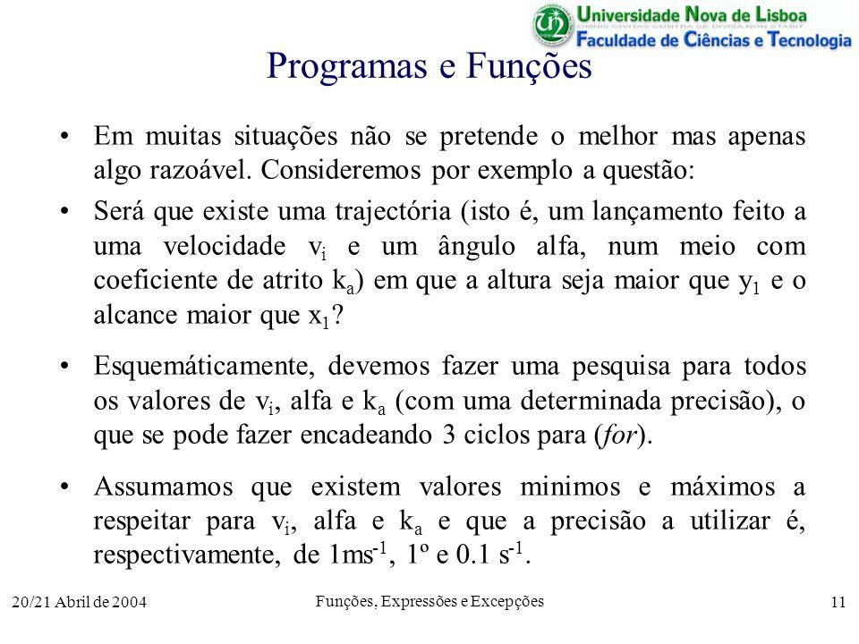 20/21 Abril de 2004 Funções, Expressões e Excepções 11 Programas e Funções Em muitas situações não se pretende o melhor mas apenas algo razoável. Cons