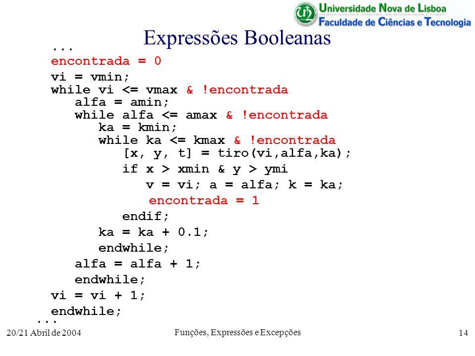 20/21 Abril de 2004 Funções, Expressões e Excepções 14 Expressões Booleanas... encontrada = 0 vi = vmin; while vi <= vmax & !encontrada alfa = amin; w