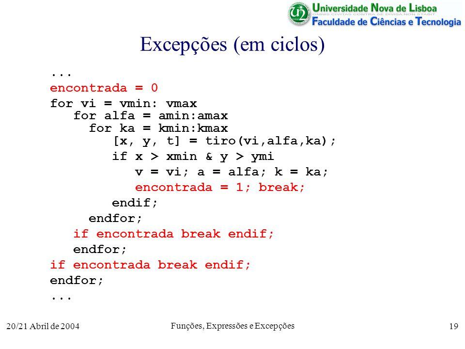 20/21 Abril de 2004 Funções, Expressões e Excepções 19 Excepções (em ciclos)... encontrada = 0 for vi = vmin: vmax for alfa = amin:amax for ka = kmin: