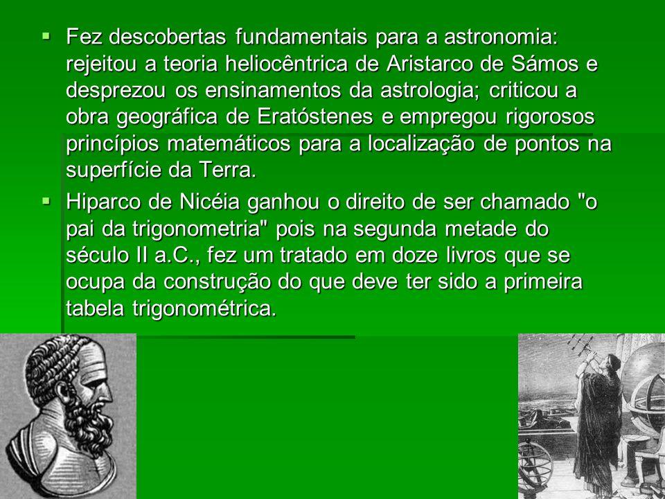  Fez descobertas fundamentais para a astronomia: rejeitou a teoria heliocêntrica de Aristarco de Sámos e desprezou os ensinamentos da astrologia; cri
