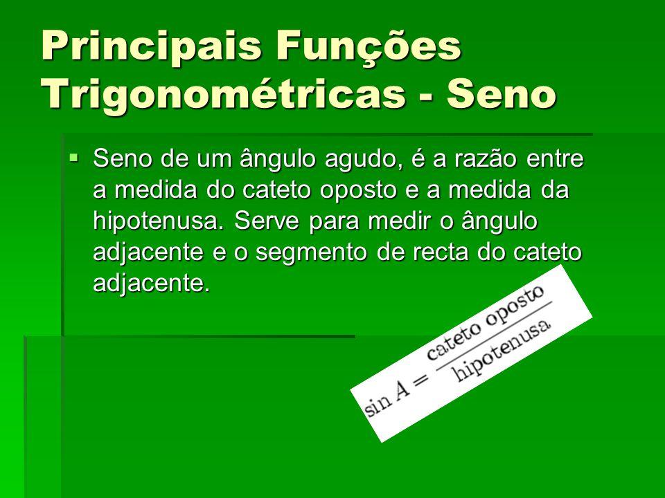 Principais Funções Trigonométricas - Seno  Seno de um ângulo agudo, é a razão entre a medida do cateto oposto e a medida da hipotenusa. Serve para me