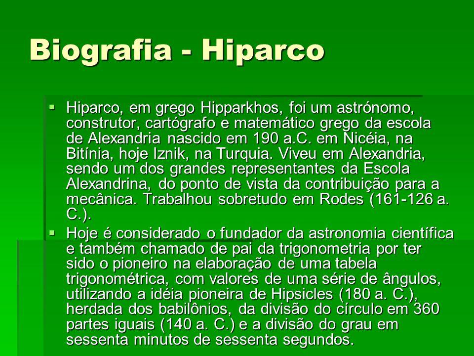 Biografia - Hiparco  Hiparco, em grego Hipparkhos, foi um astrónomo, construtor, cartógrafo e matemático grego da escola de Alexandria nascido em 190