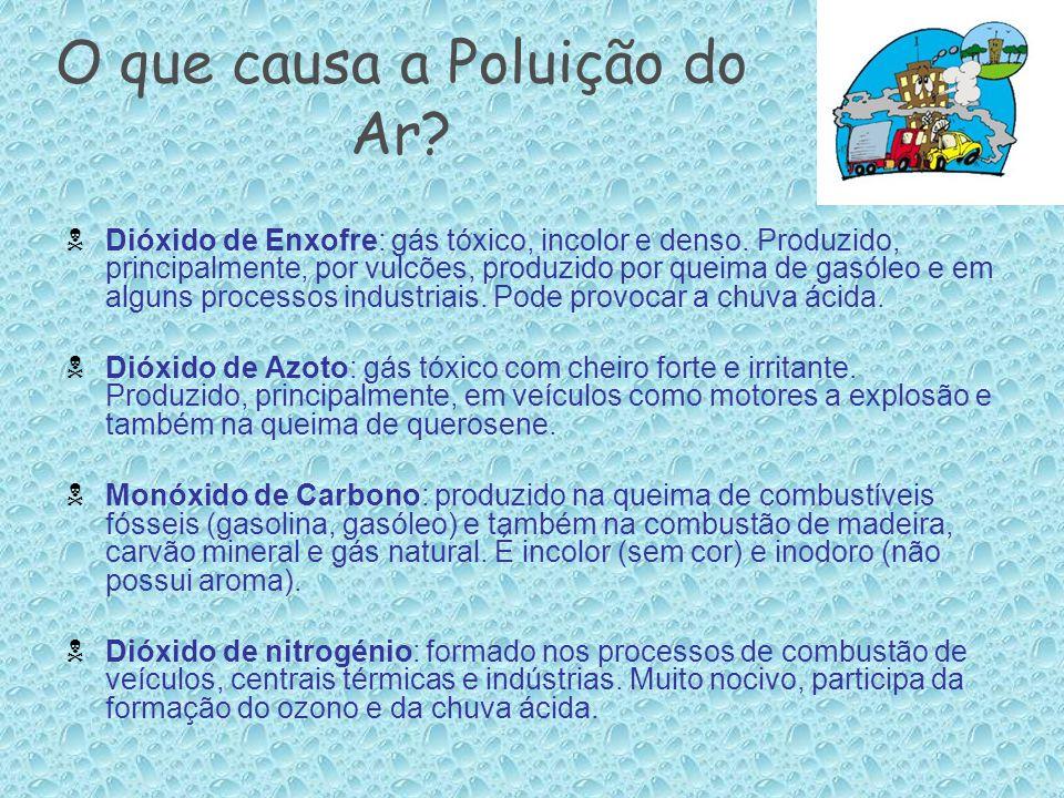 O que causa a Poluição do Ar?  Dióxido de Enxofre: gás tóxico, incolor e denso. Produzido, principalmente, por vulcões, produzido por queima de gasól