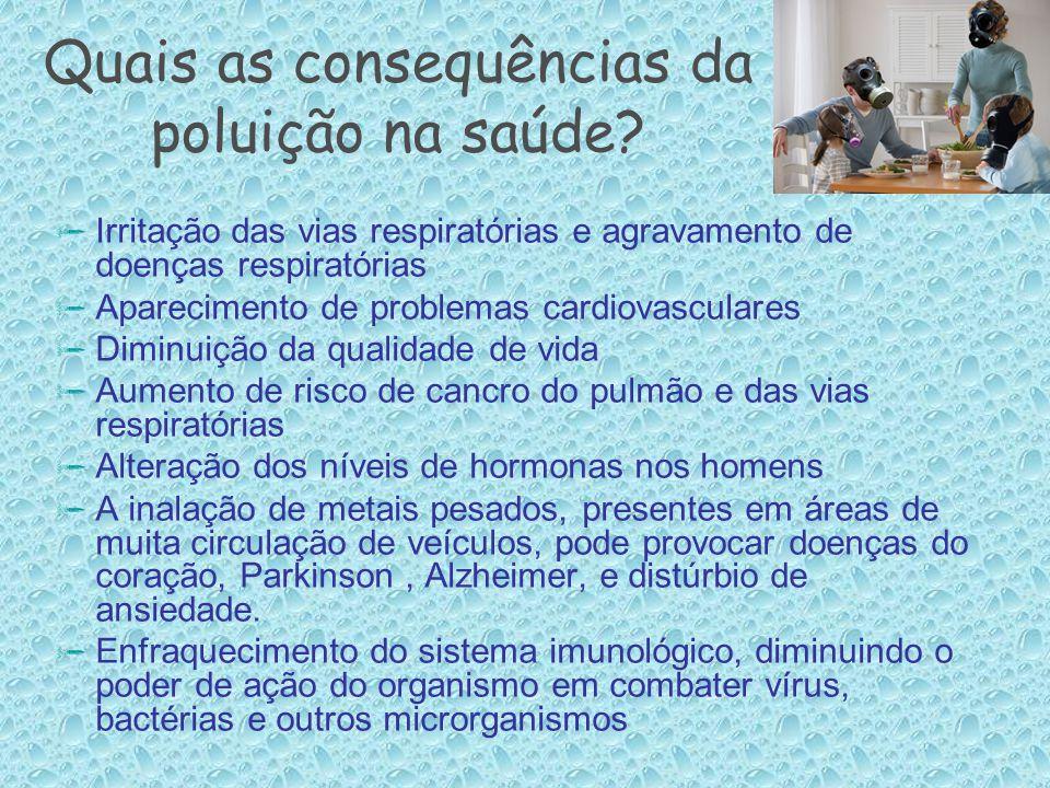 Quais as consequências da poluição na saúde?  Irritação das vias respiratórias e agravamento de doenças respiratórias  Aparecimento de problemas car