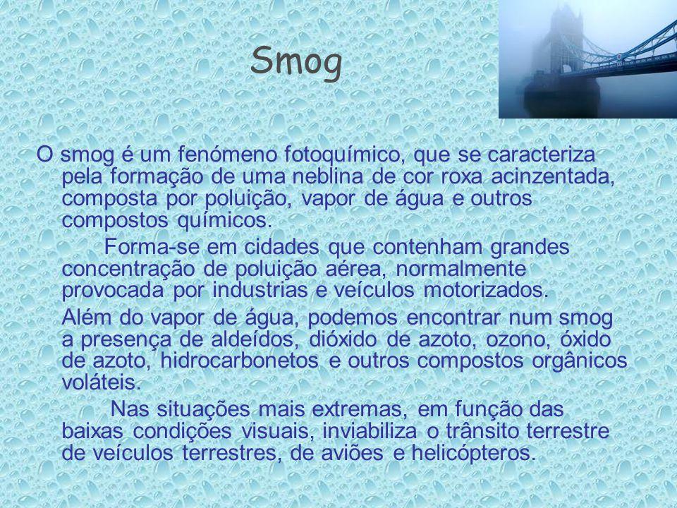 Smog O smog é um fenómeno fotoquímico, que se caracteriza pela formação de uma neblina de cor roxa acinzentada, composta por poluição, vapor de água e