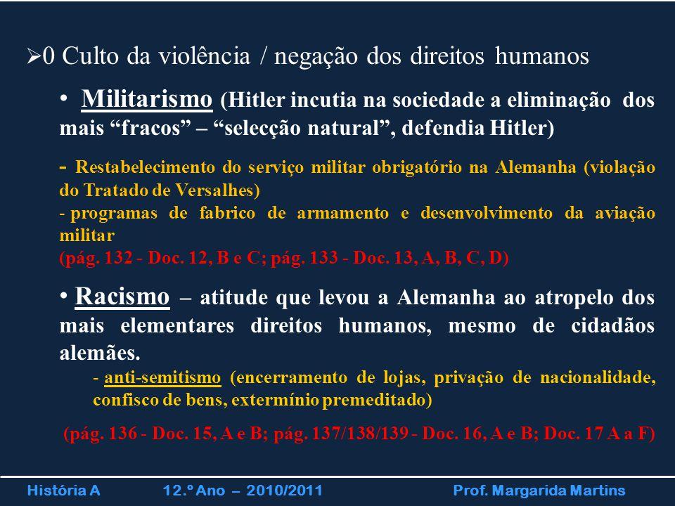 História A 12.º Ano – 2010/2011 Prof. Margarida Martins  0 Culto da violência / negação dos direitos humanos Militarismo (Hitler incutia na sociedade