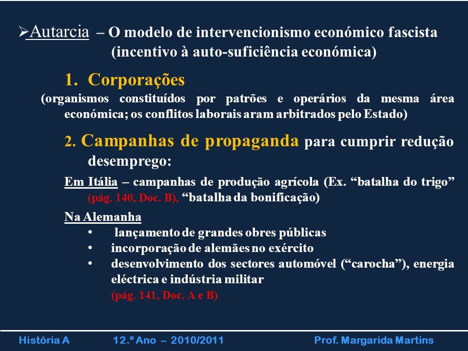 História A 12.º Ano – 2010/2011 Prof. Margarida Martins  Autarcia – O modelo de intervencionismo económico fascista (incentivo à auto-suficiência eco