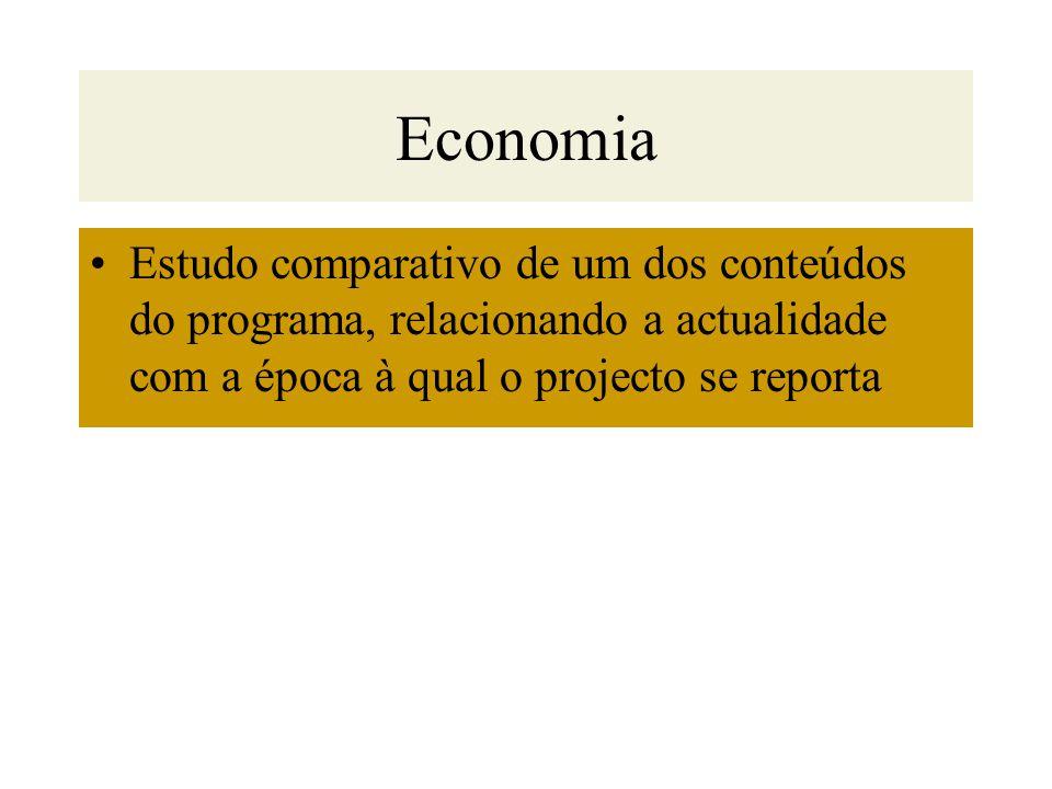 Economia Estudo comparativo de um dos conteúdos do programa, relacionando a actualidade com a época à qual o projecto se reporta