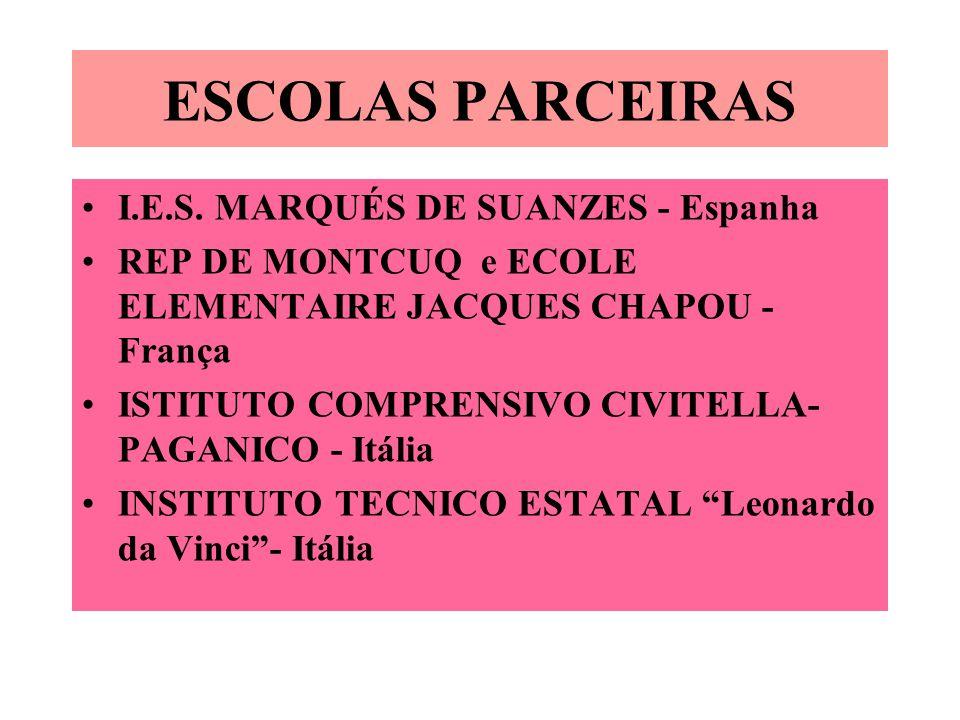 ESCOLAS PARCEIRAS I.E.S. MARQUÉS DE SUANZES - Espanha REP DE MONTCUQ e ECOLE ELEMENTAIRE JACQUES CHAPOU - França ISTITUTO COMPRENSIVO CIVITELLA- PAGAN
