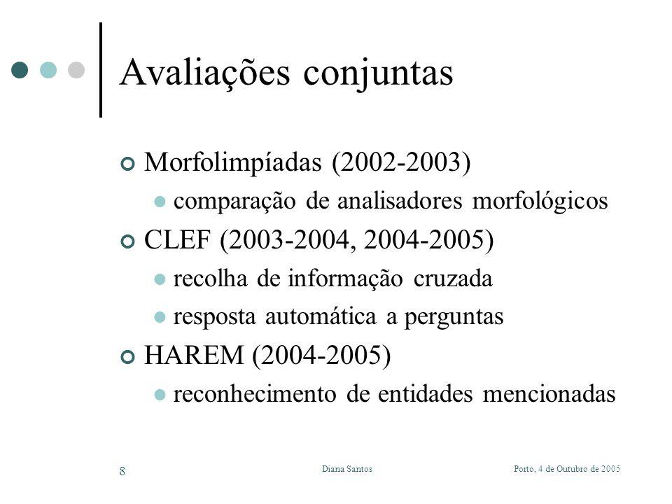 Porto, 4 de Outubro de 2005Diana Santos 8 Avaliações conjuntas Morfolimpíadas (2002-2003) comparação de analisadores morfológicos CLEF (2003-2004, 2004-2005) recolha de informação cruzada resposta automática a perguntas HAREM (2004-2005) reconhecimento de entidades mencionadas