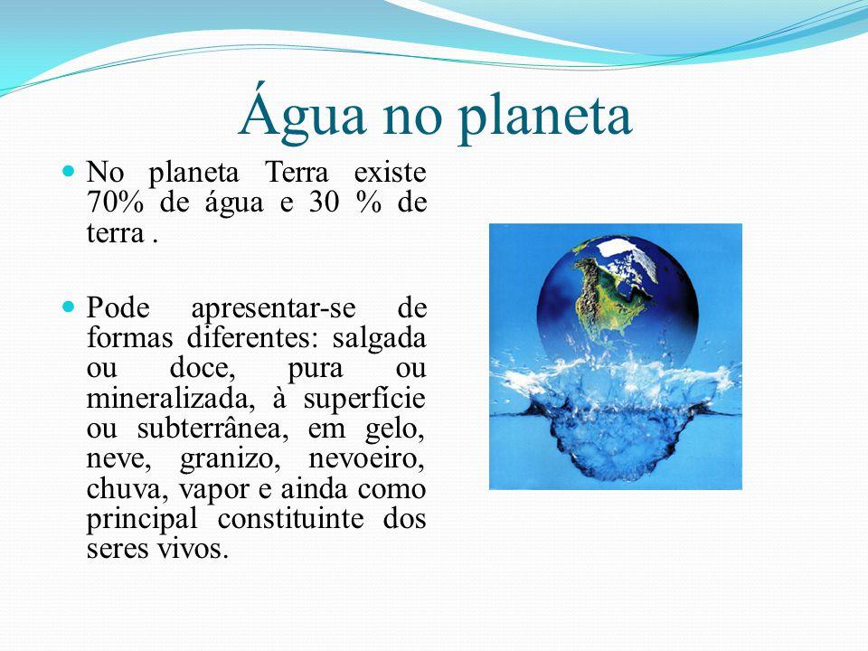 Água no planeta No planeta Terra existe 70% de água e 30 % de terra. Pode apresentar-se de formas diferentes: salgada ou doce, pura ou mineralizada, à