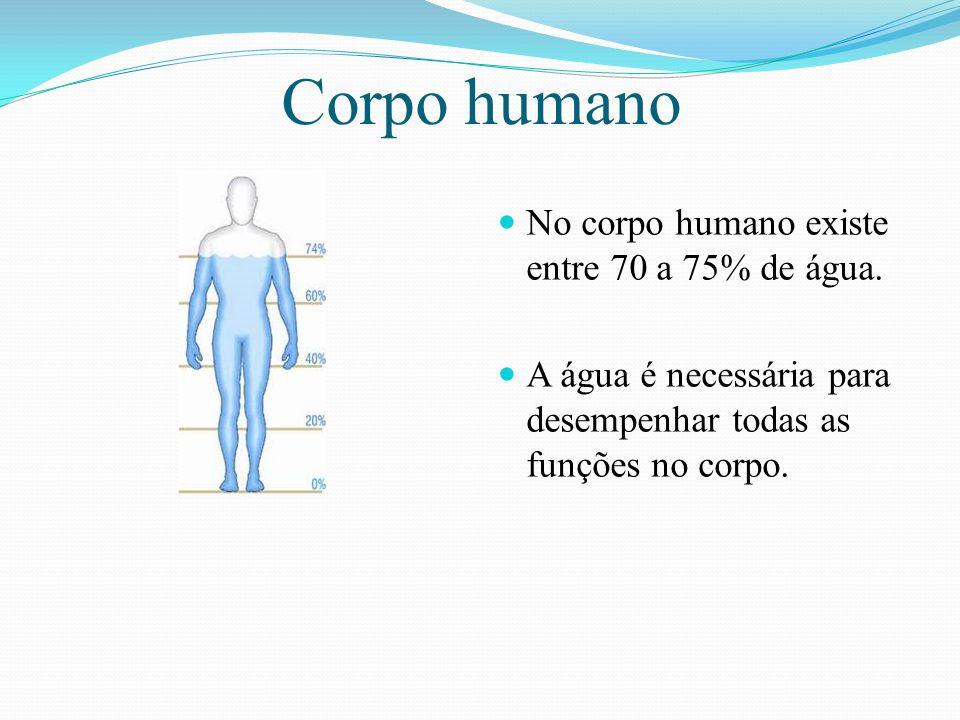 Corpo humano No corpo humano existe entre 70 a 75% de água. A água é necessária para desempenhar todas as funções no corpo.
