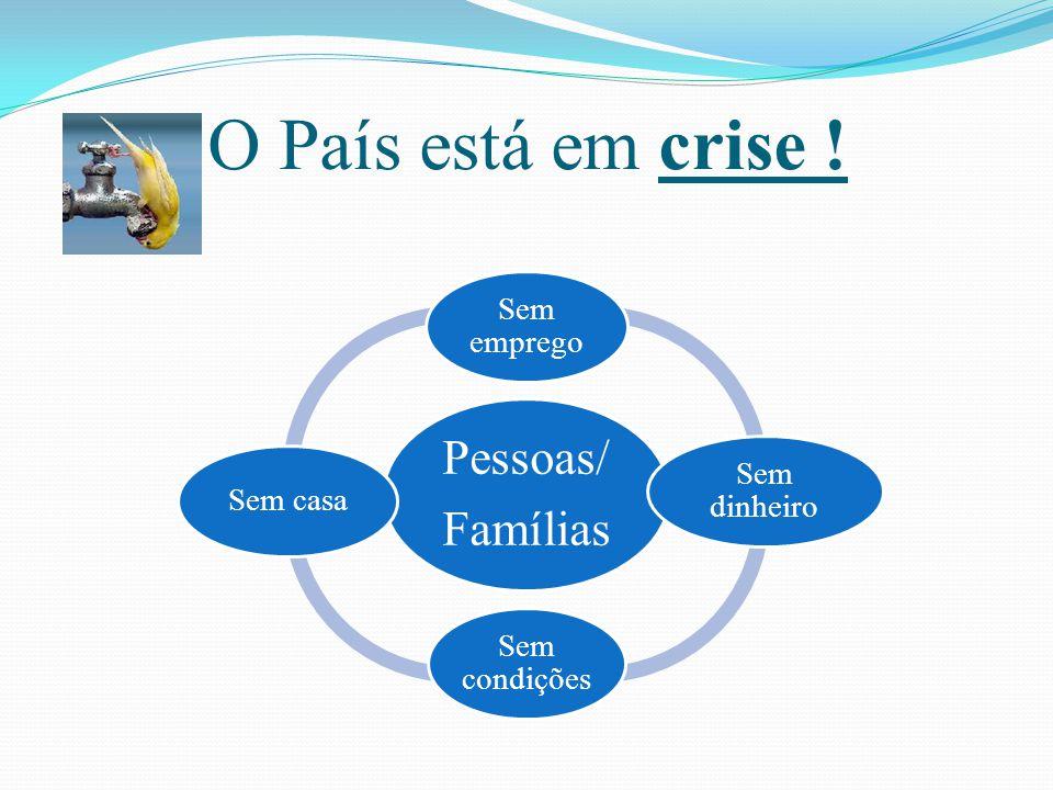 O País está em crise ! Pessoas/ Famílias Sem emprego Sem dinheiro Sem condições Sem casa
