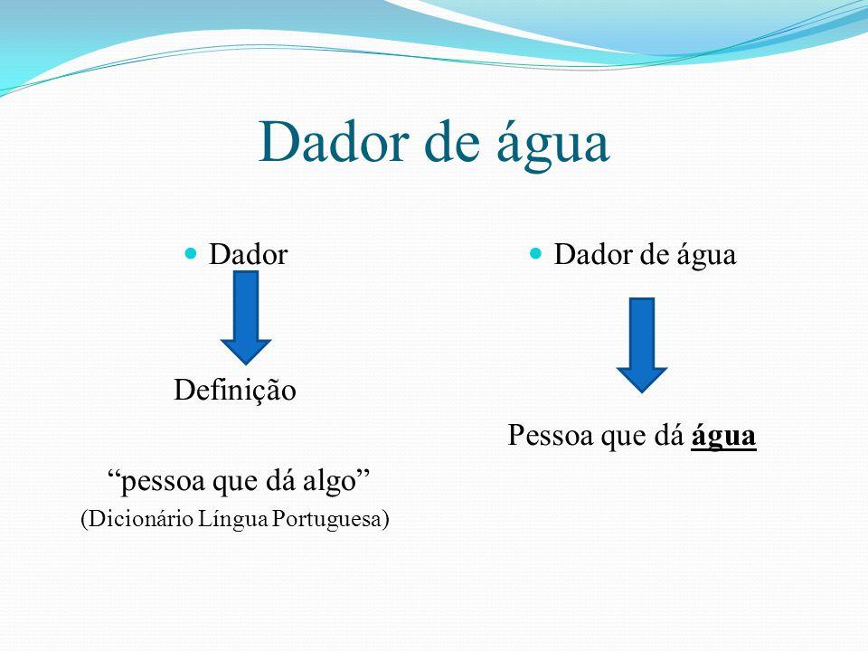 """Dador de água Dador Definição """"pessoa que dá algo"""" (Dicionário Língua Portuguesa) Dador de água Pessoa que dá água"""