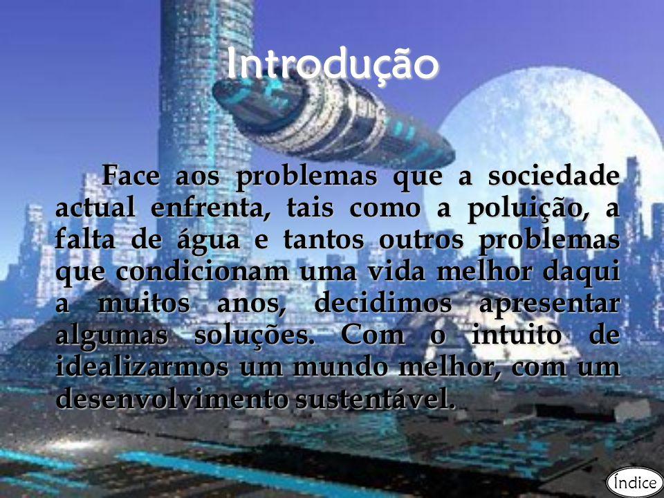 Introdução Face aos problemas que a sociedade actual enfrenta, tais como a poluição, a falta de água e tantos outros problemas que condicionam uma vid