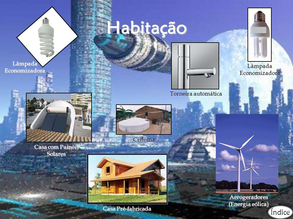 Habitação Lâmpada Economizadora Cisterna Casa Pré-fabricada Lâmpada Economizadora Casa com Painéis Solares Aerogeradores (Energia eólica) Torneira automática Índice