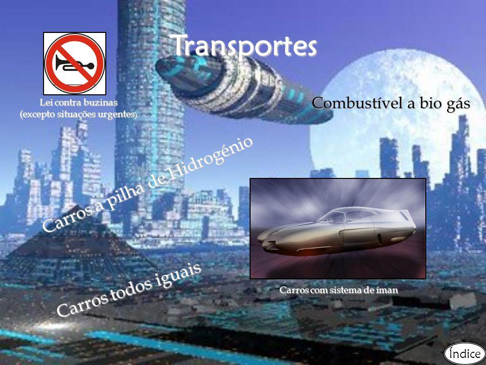 Transportes Carros a pilha de Hidrogénio Combustível a bio gás C a r r o s t o d o s i g u a i s Carros com sistema de íman Lei contra buzinas (excepto situações urgentes Lei contra buzinas (excepto situações urgentes ) Índice
