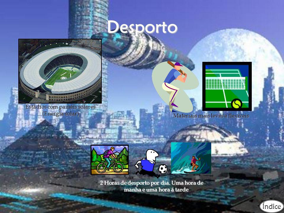 Desporto Estádios com painéis solares (Energia solar) Materiais mais leves e flexíveis 2 Horas de desporto por dia.