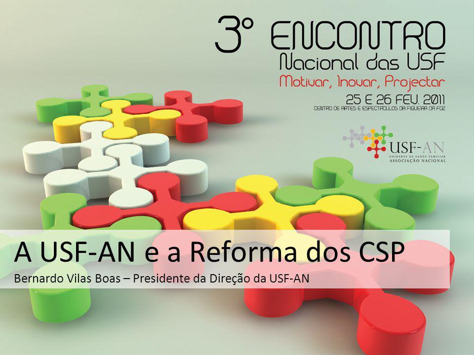 A USF-AN e a Reforma dos CSP Bernardo Vilas Boas – Presidente da Direção da USF-AN