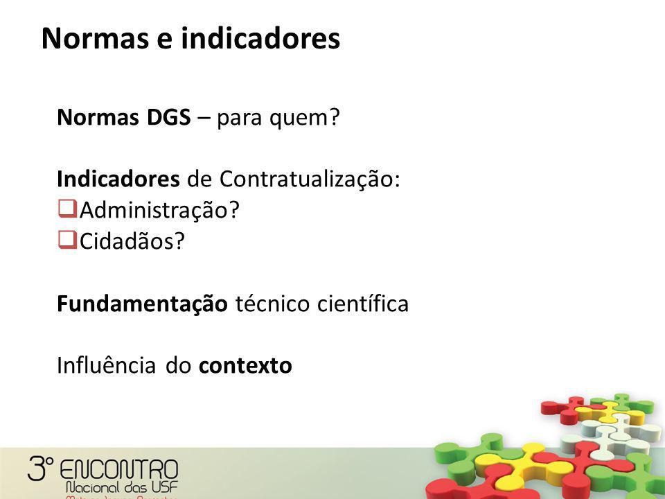 Normas e indicadores Normas DGS – para quem? Indicadores de Contratualização:  Administração?  Cidadãos? Fundamentação técnico científica Influência