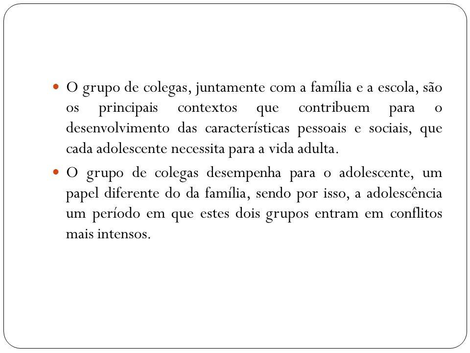 O grupo de colegas, juntamente com a família e a escola, são os principais contextos que contribuem para o desenvolvimento das características pessoai
