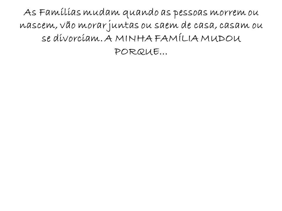 As Famílias mudam quando as pessoas morrem ou nascem, vão morar juntas ou saem de casa, casam ou se divorciam. A MINHA FAMÍLIA MUDOU PORQUE…